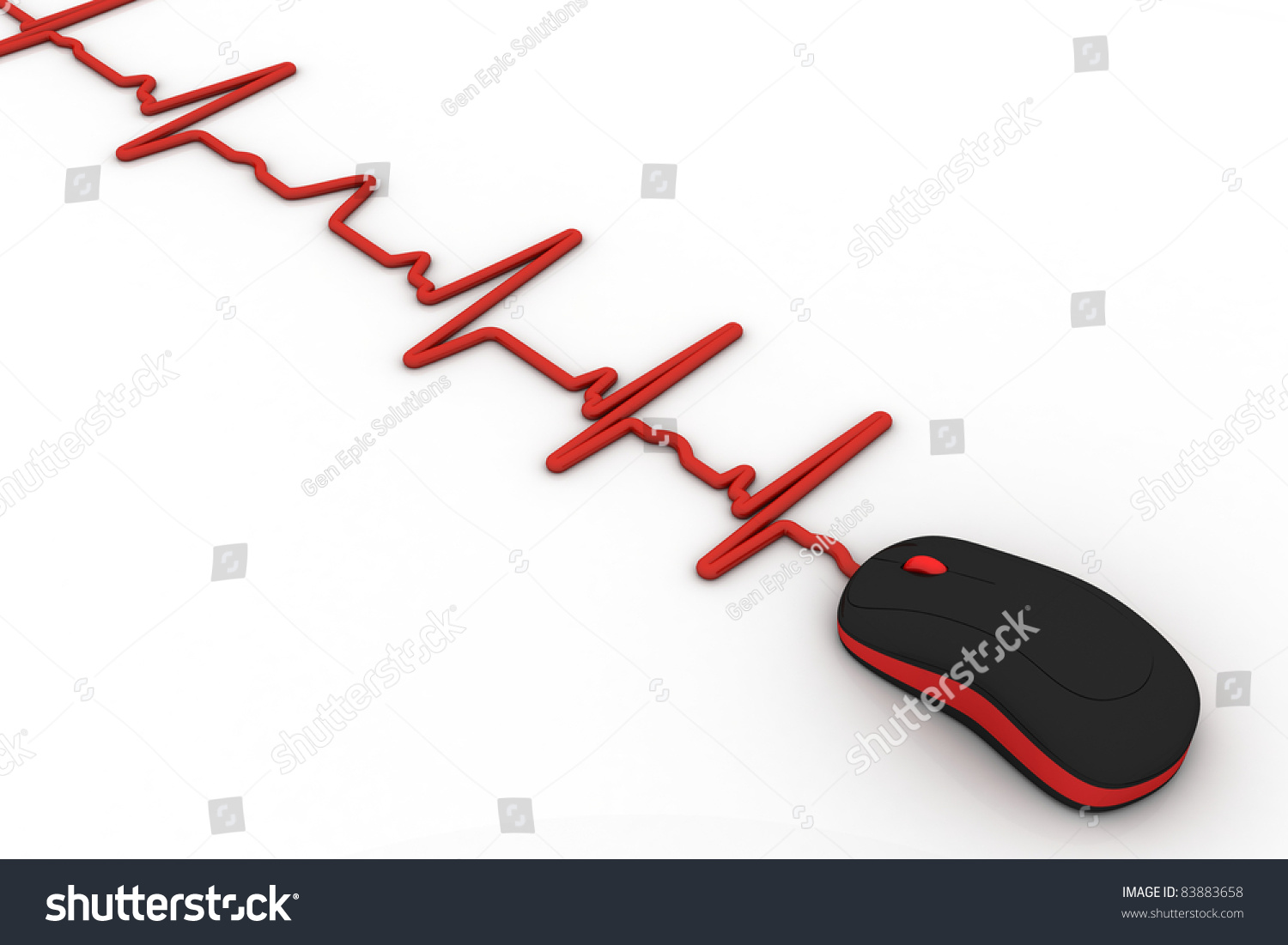 Computer Mouse Wire Heartbeat Diagram Stock Illustration 83883658 With As