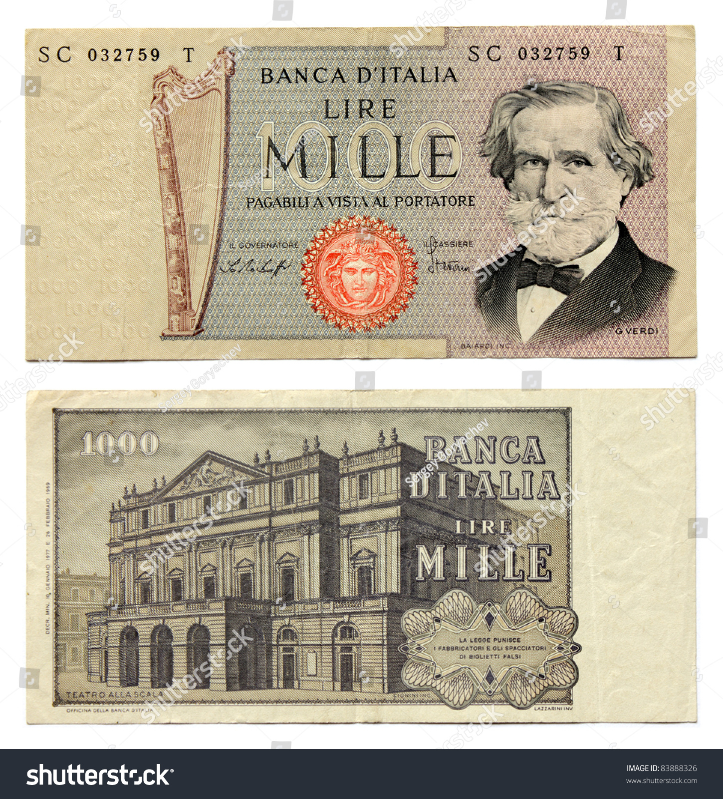 Old Italian Currency Notes Issued By Stock Photo 83888326 ... Italian Money
