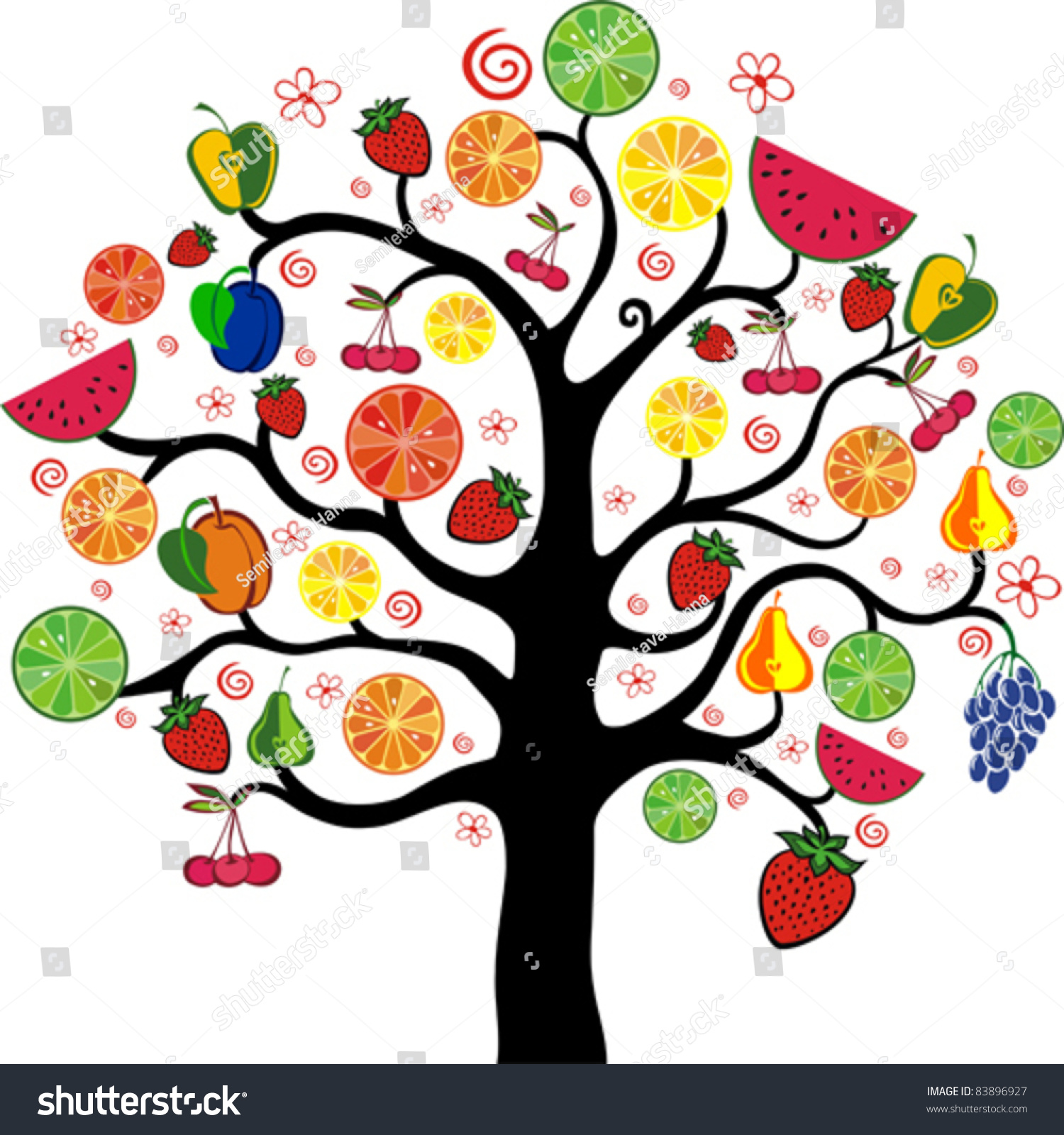 Mixed Fruits Tree Isolated On White Stock Vector 83896927