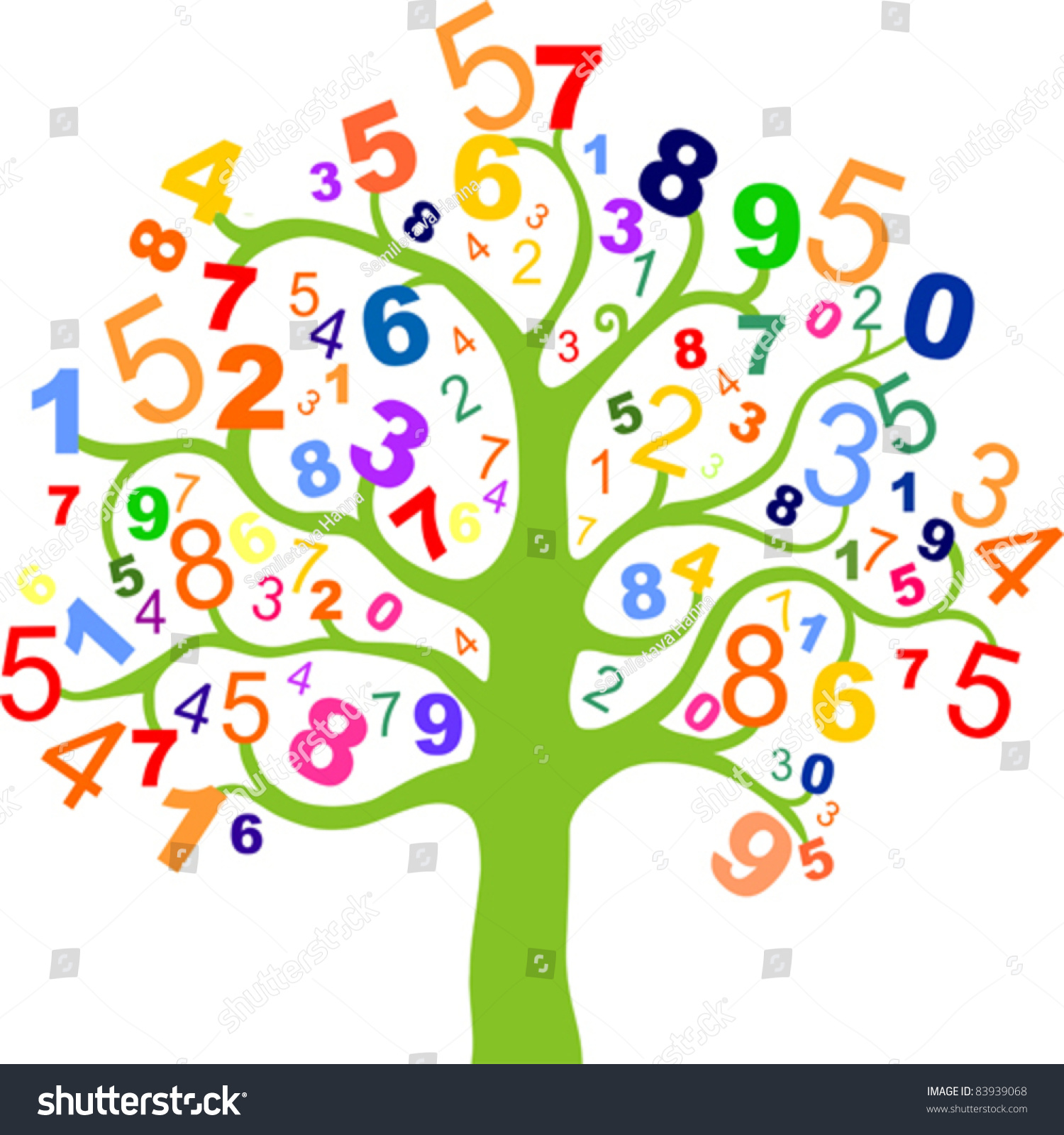 Abstract Colorful Tree With Numbers Isolated On White ...