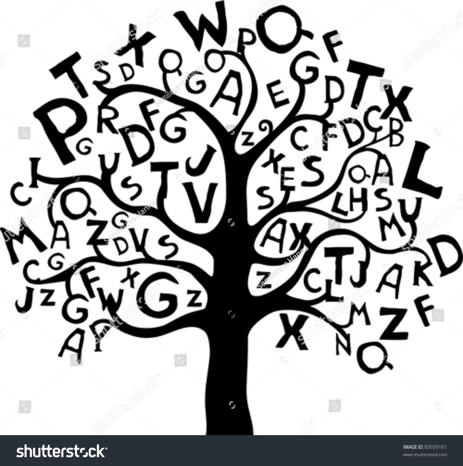abstract tree with black letters isolated on white background vector illustration