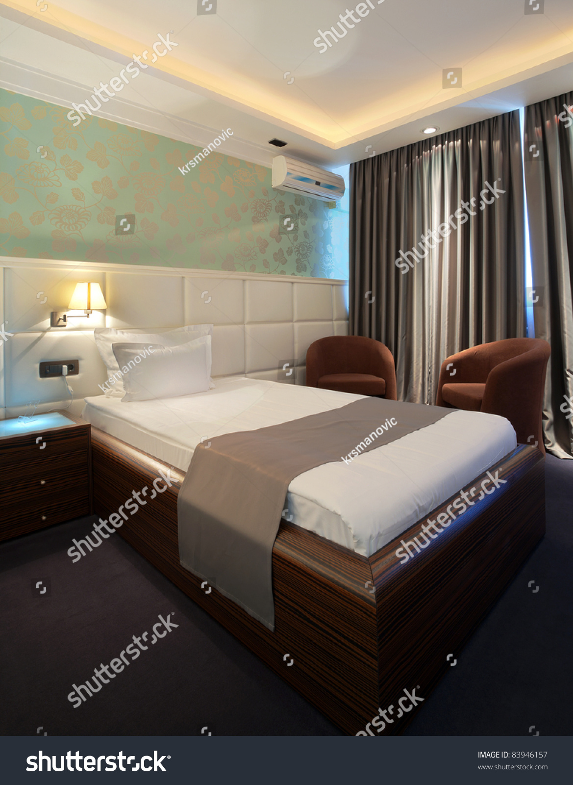 Hotel Room Design: Interior Of A Hotel Room With Furniture, Modern