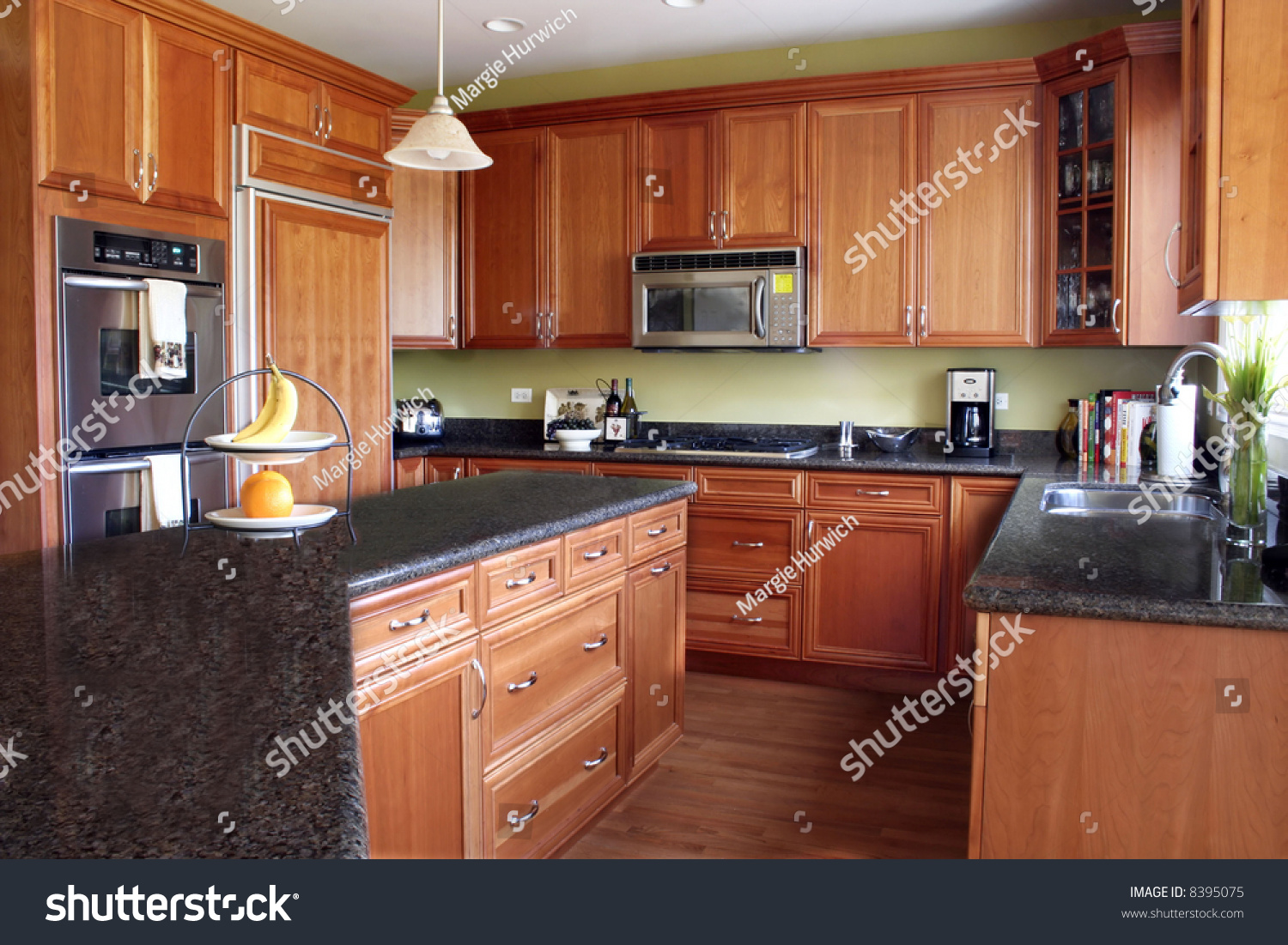 kitchen cabinets with granite countertops modern kitchen cherry cabinets granite countertops stock 21421