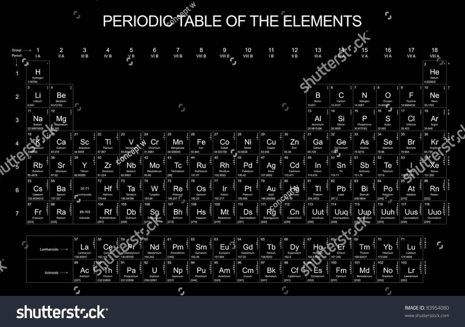Periodic table elements on black background stock illustration periodic table of the elements on black background gamestrikefo Gallery