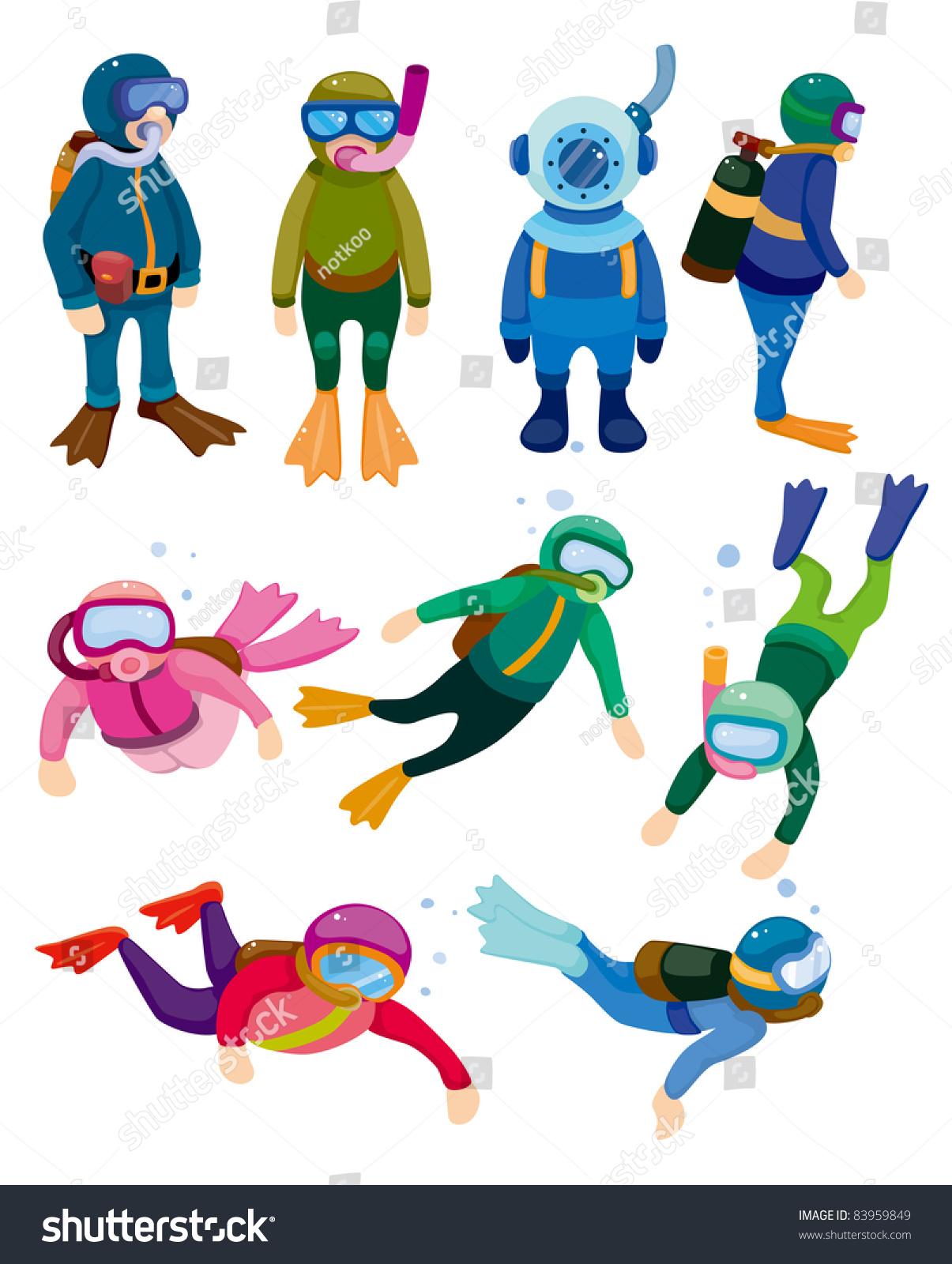 Stock Vector Cartoon Diver Icons