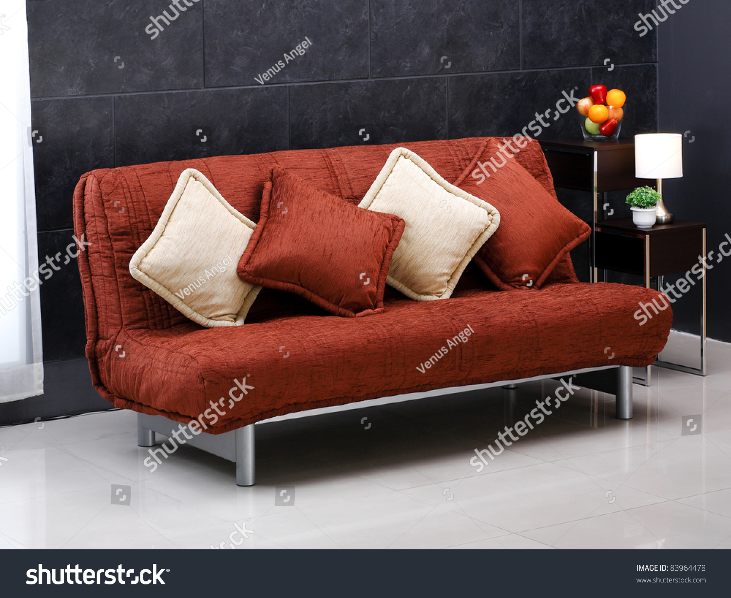 A Luxury Comfortable Sofa Bed And Cute Cushions Stock