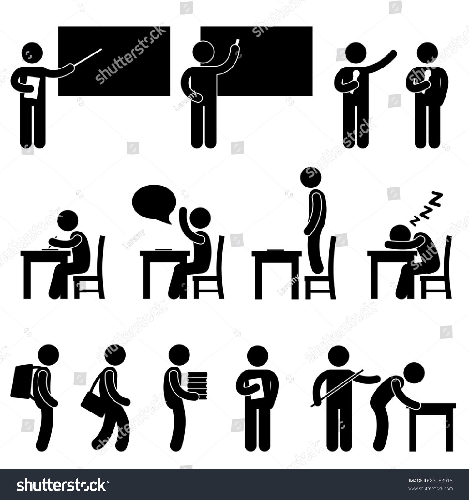 School Teacher Student Class Classroom Education Stock Vector ...