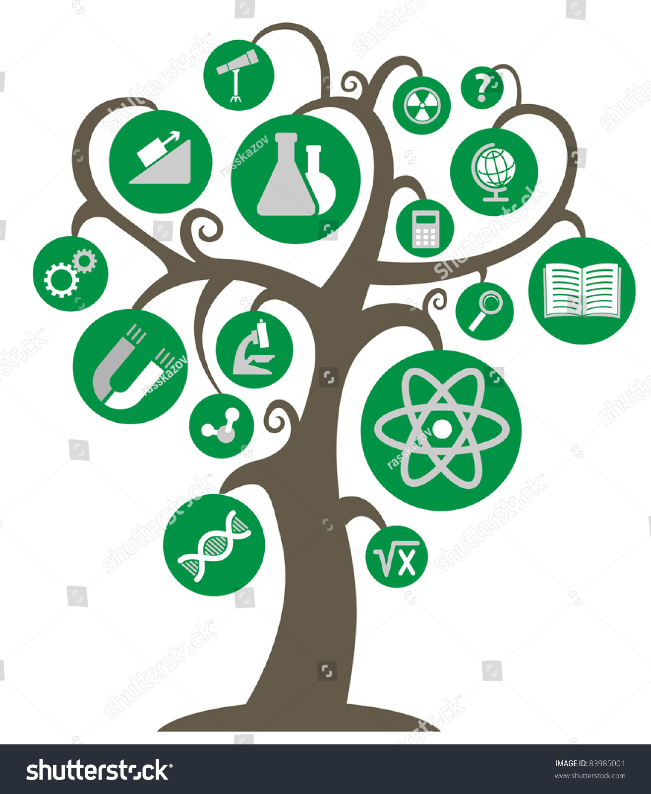 Tree Knowledge Symbols Science Education Branches Stock ...