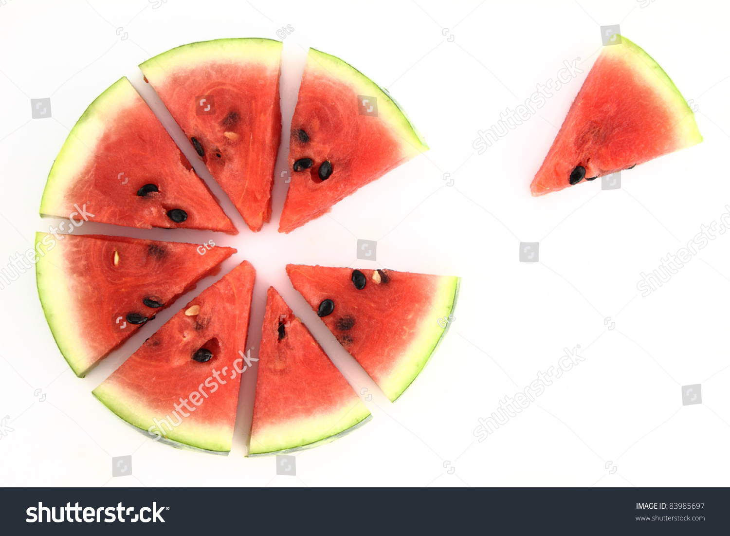 Pie chart watermelon slices stock photo 83985697 shutterstock pie chart of watermelon slices nvjuhfo Choice Image