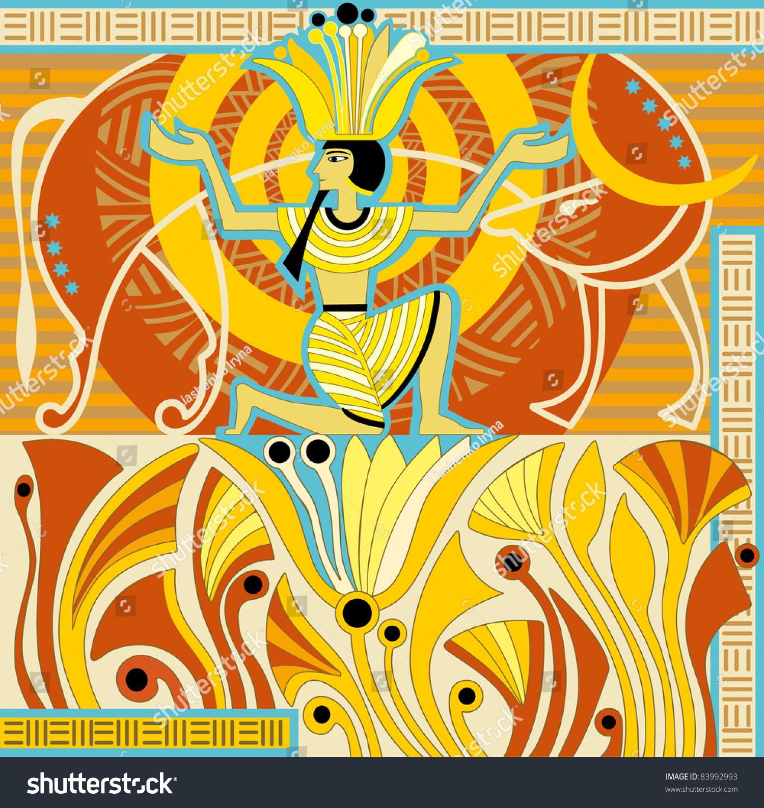 Pharaoh Sitting On Flower Lotus Heavenly Stock Illustration 83992993