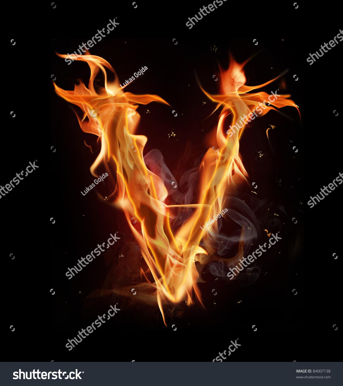 Fire Alphabet Letter V Stock Photo 84007138 - Shutterstock