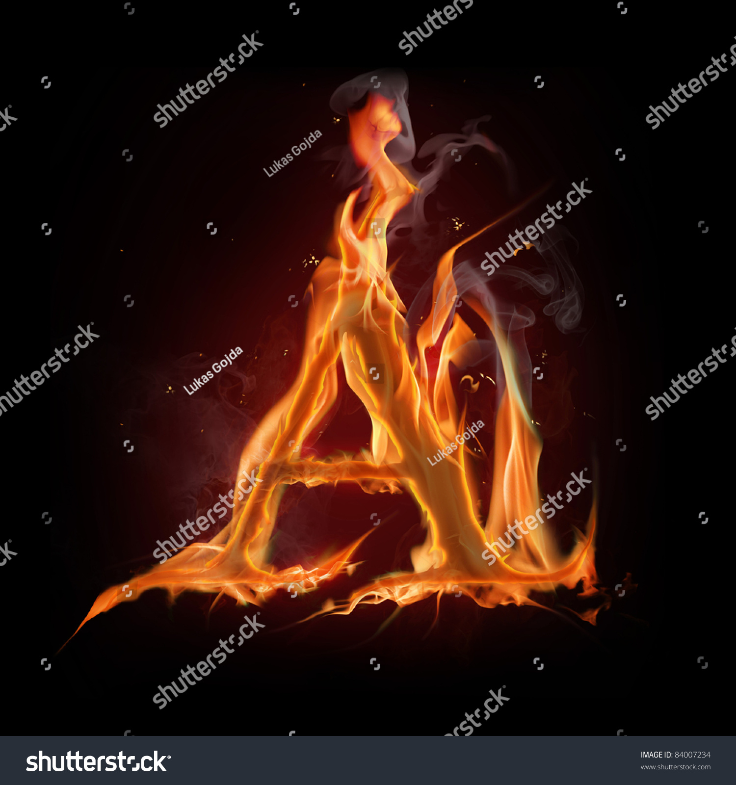 "Fire Alphabet Letter ""A"" Stock Photo 84007234 : Shutterstock"
