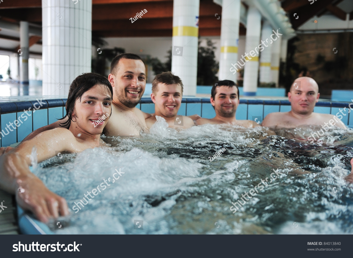 Relaxing Hot Tube Jacuzzi Group Young Stock Photo (Edit Now ...