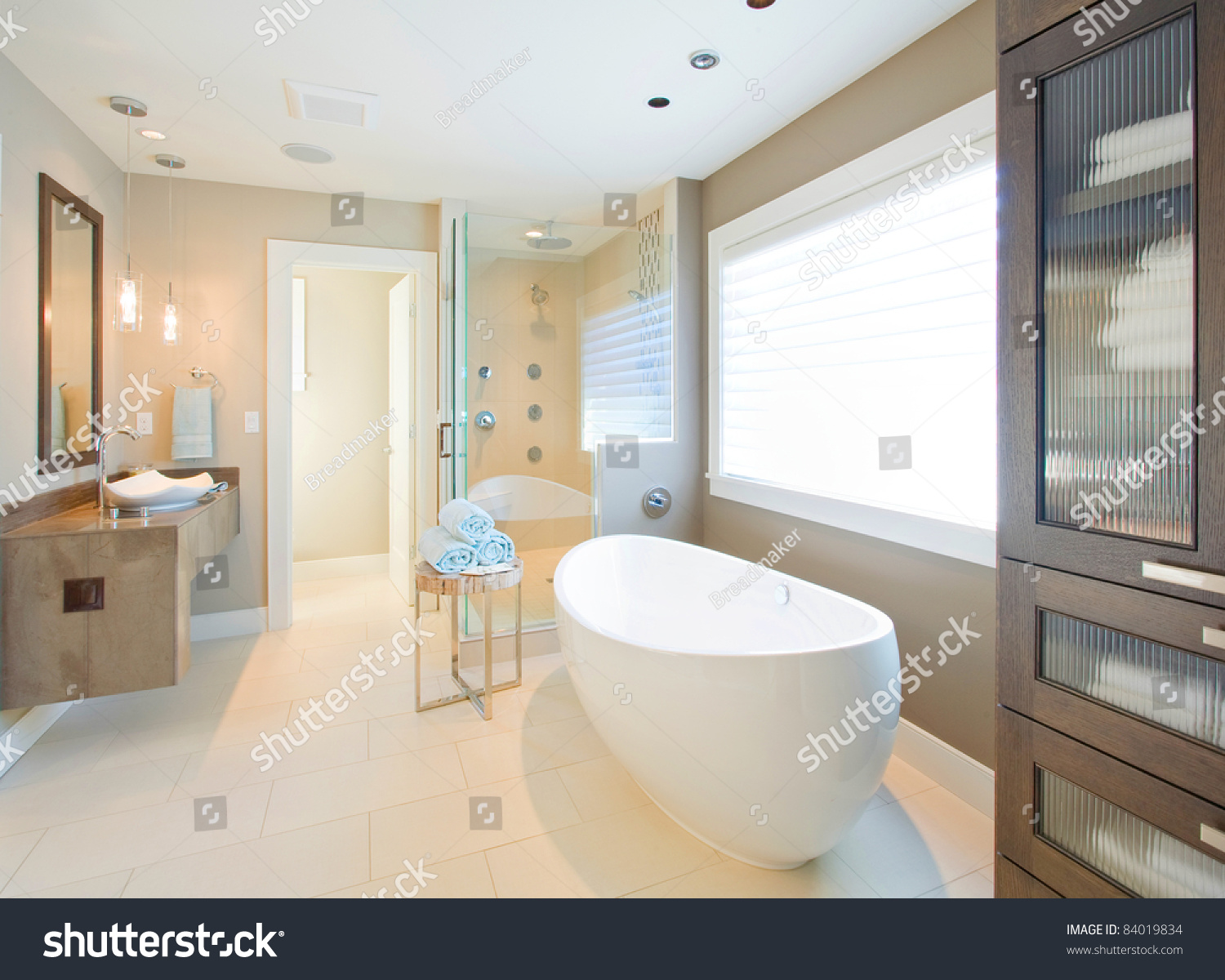 Beautiful bathroom interior new luxury home stock photo for Bathroom interior images