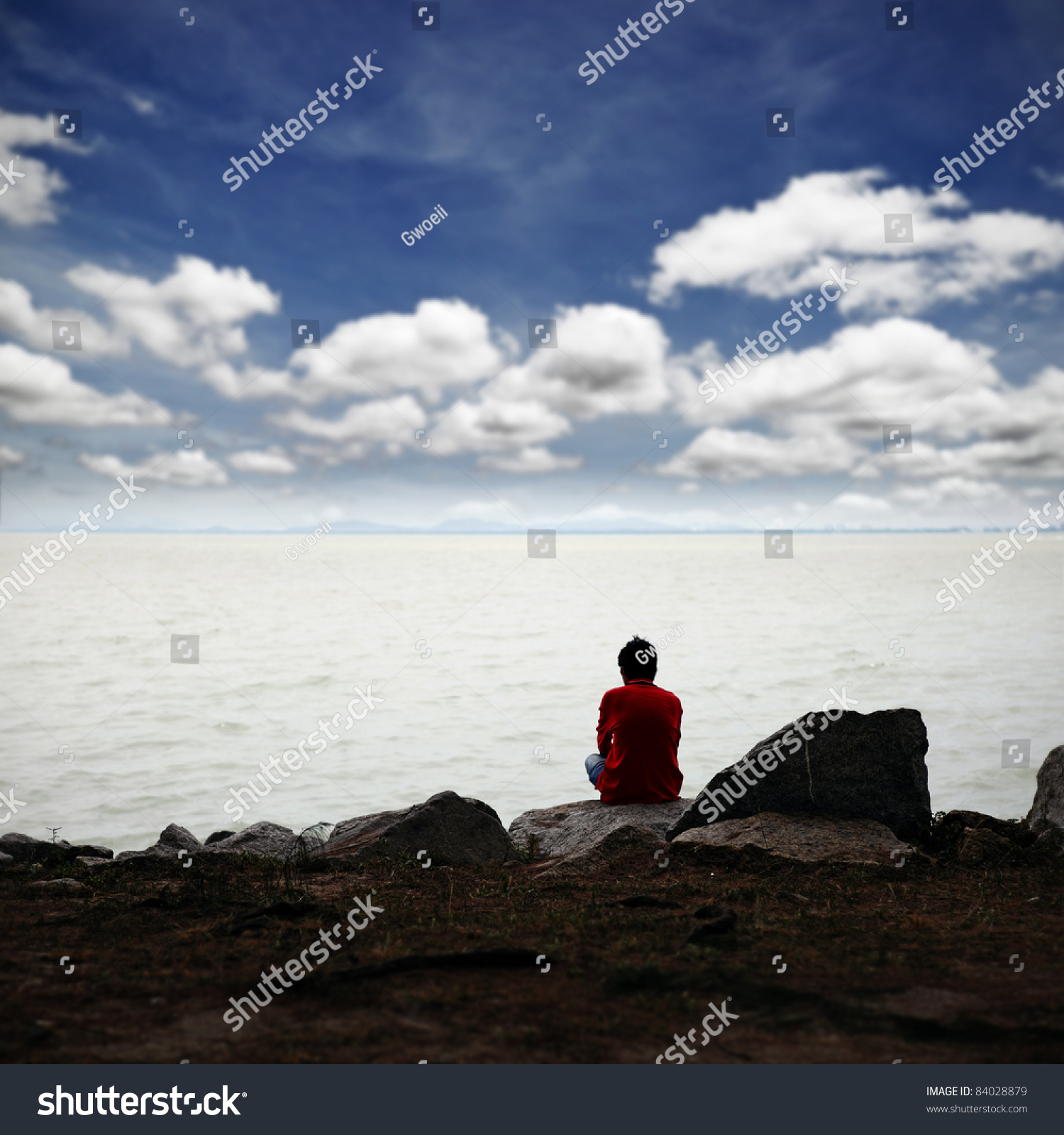 Lonely Man Deep Thought While Sitting Stock Photo 84028879 ...