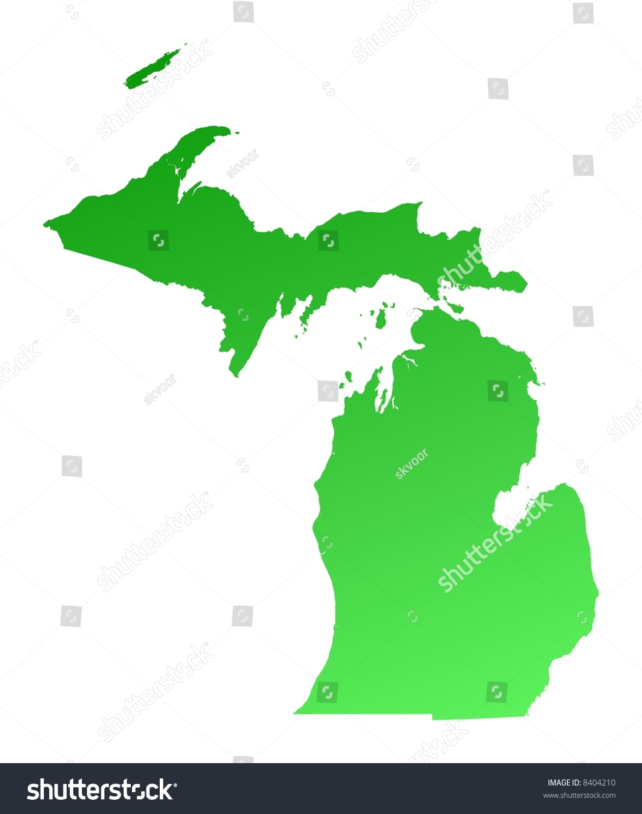 Green Gradient Michigan Map Usa Detailed Stock Illustration