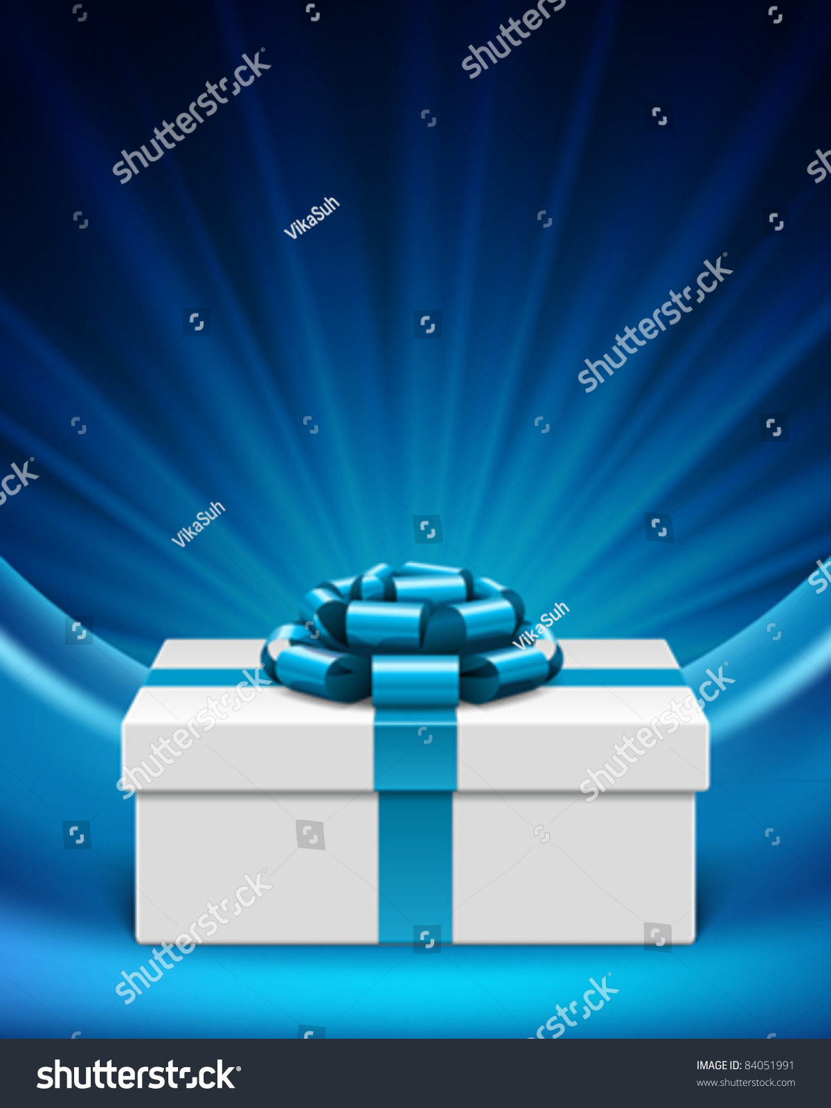 White gift box with blue ribbon and light. Vector background eps 10. & White Gift Box Blue Ribbon Light Stock Vector 84051991 - Shutterstock Aboutintivar.Com