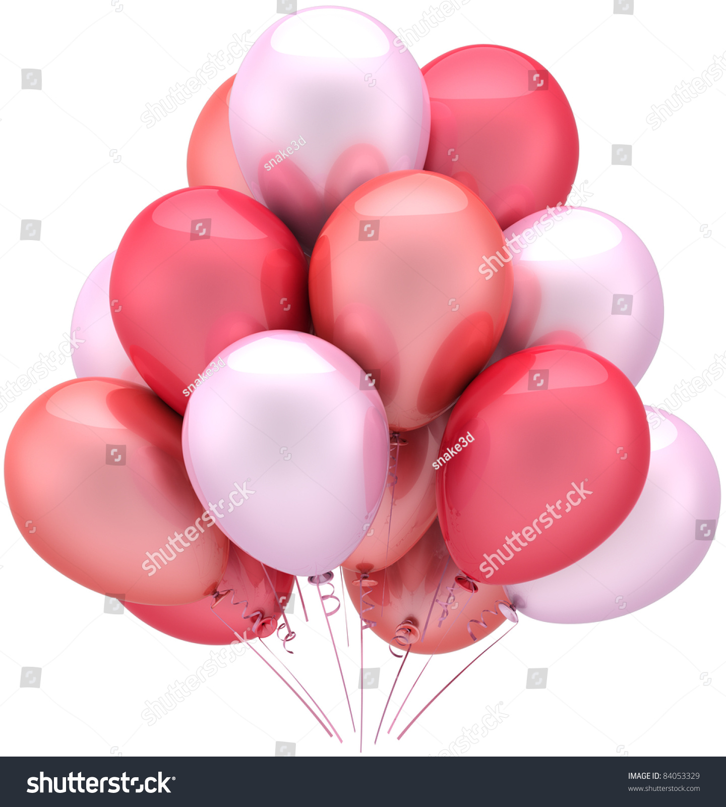 Balloons Party Birthday Pink Red Romantic Stock Illustration ...