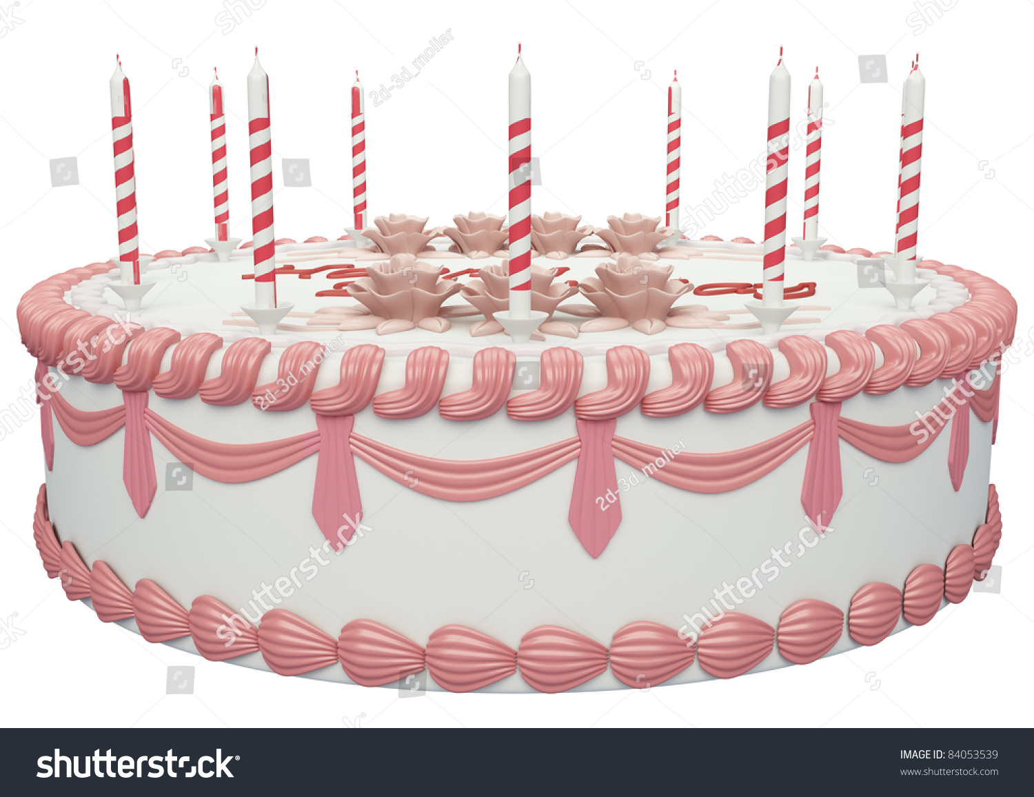 Side View Birthday Cake Candles Roses Stock Illustration 84053539
