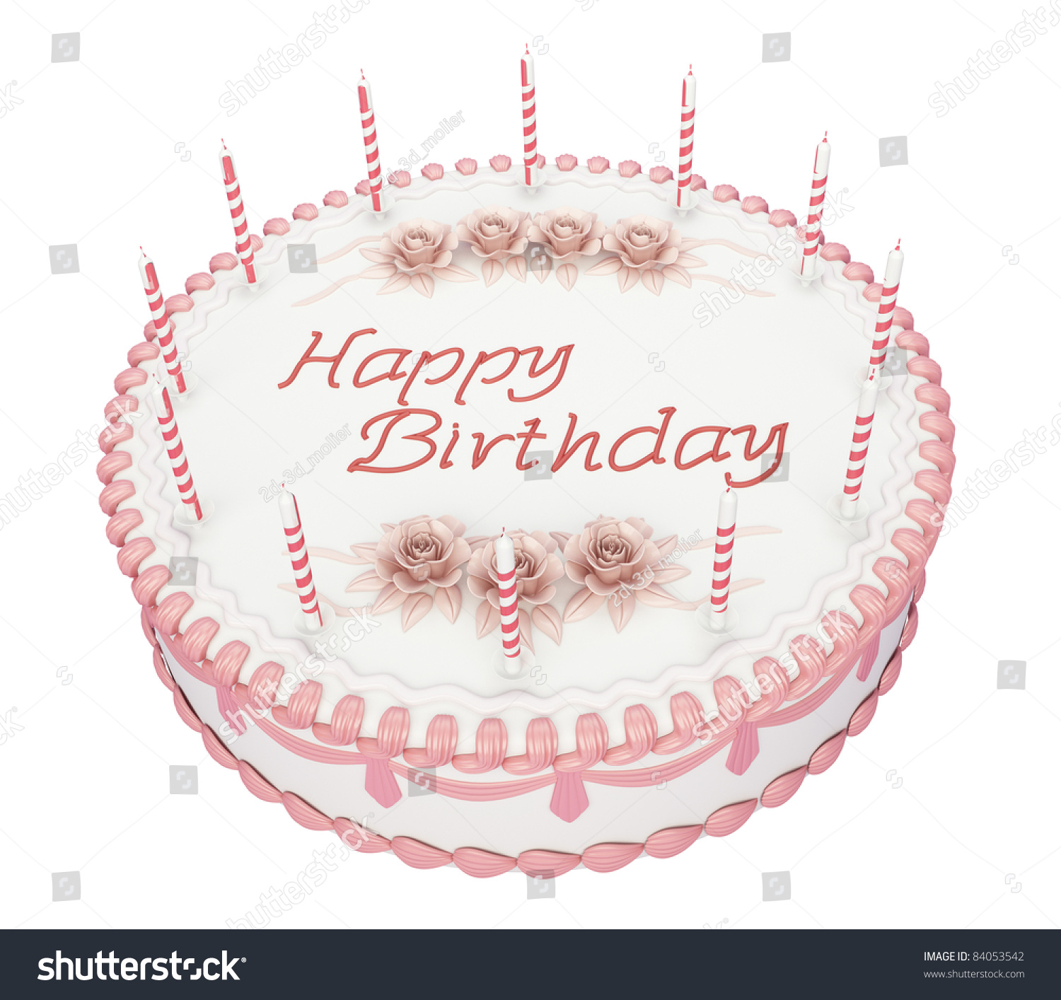 Birthday Cake Candles Roses Greetings Words Stock Illustration - Words on cake for birthday