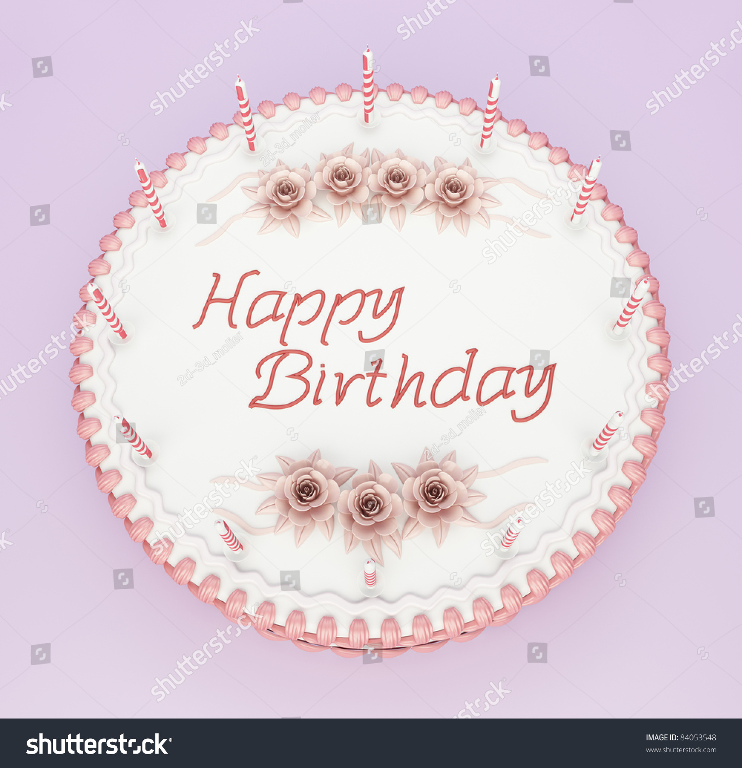 Top View Birthday Cake Candles Roses Stock Illustration 84053548