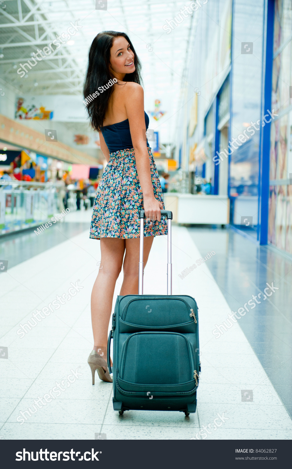 Young Pretty Stylish Woman Luggage International Stock Photo ...