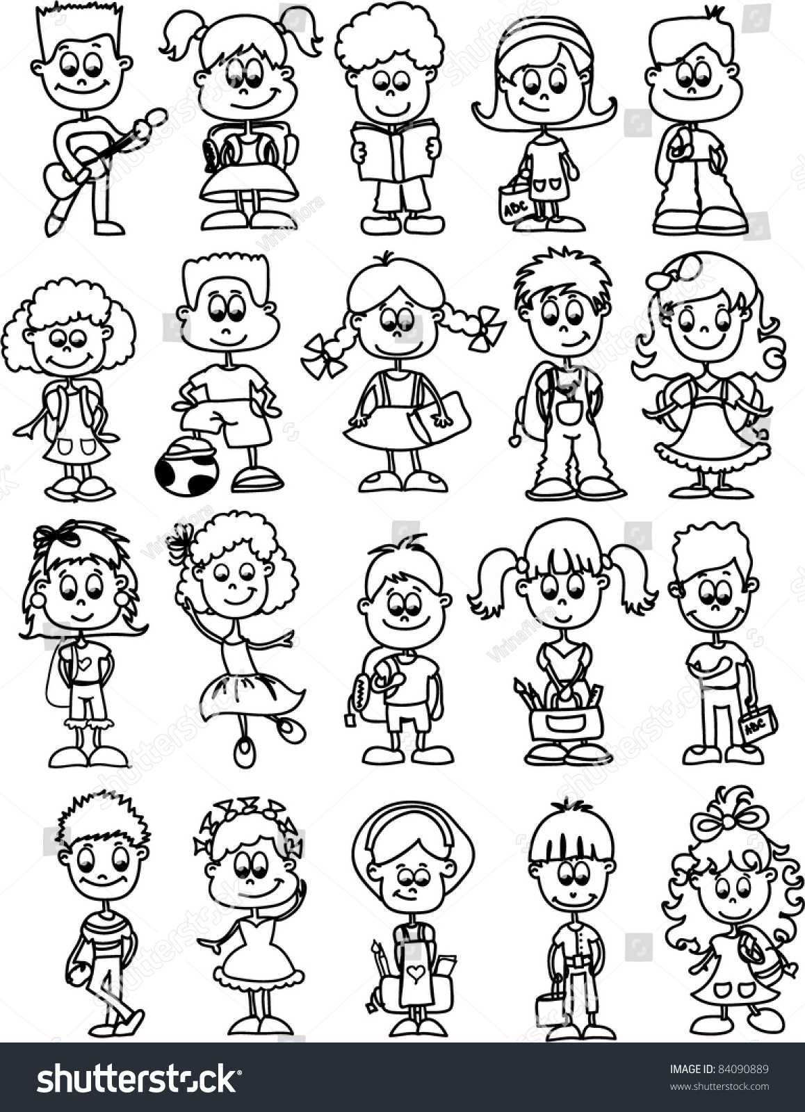 cartoon drawings of children students