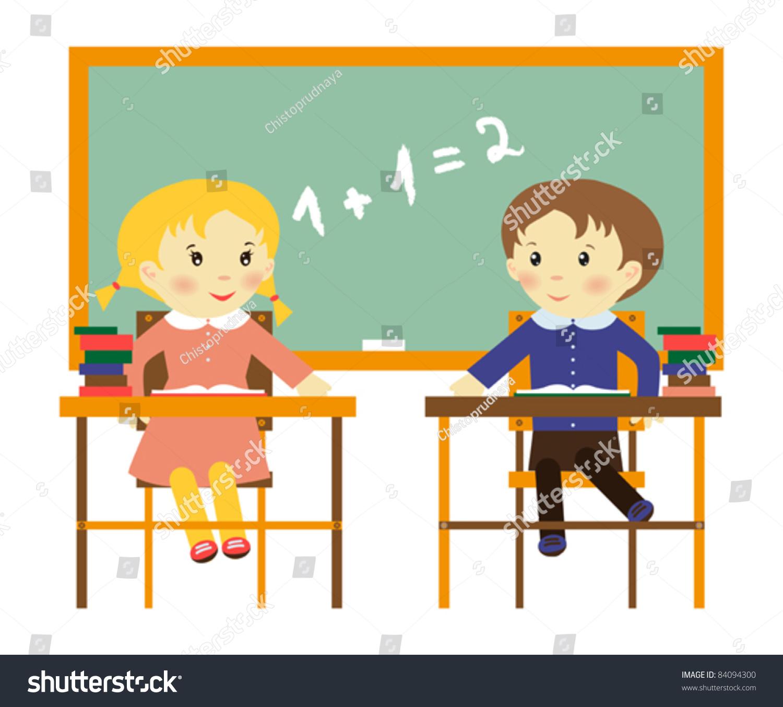 Illustration Two School Children Class Blackboard Stock Vector ...