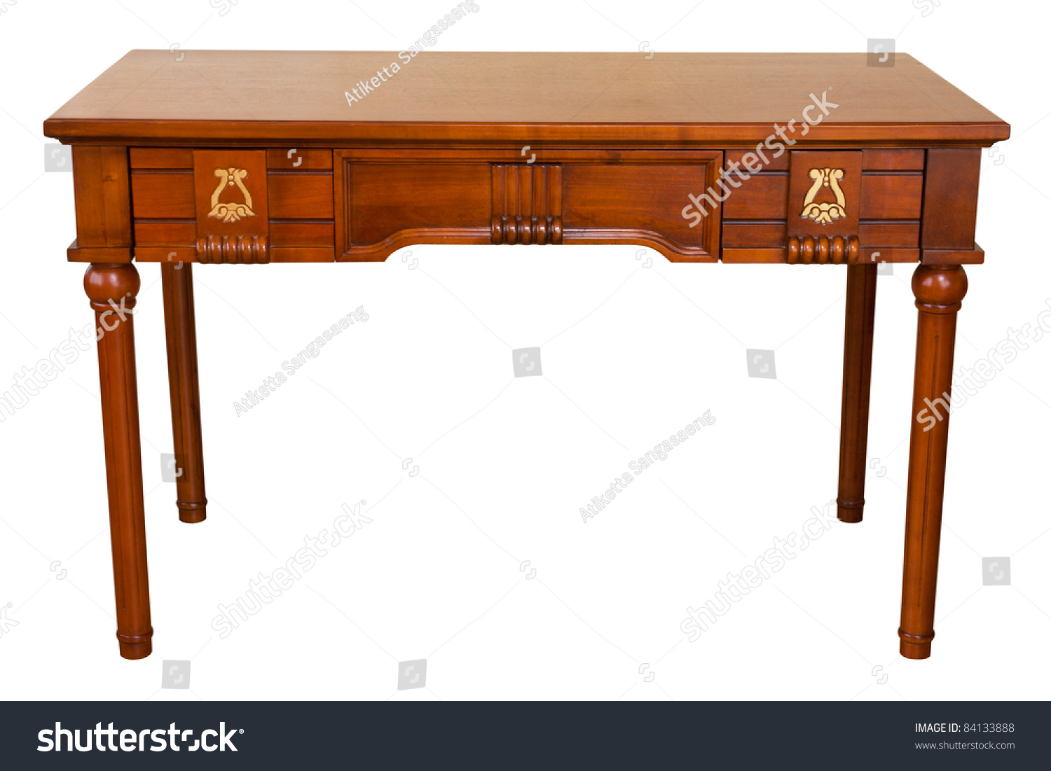 Vintage Table Isolated On White Path Stock Photo 84133888 Shutterstock