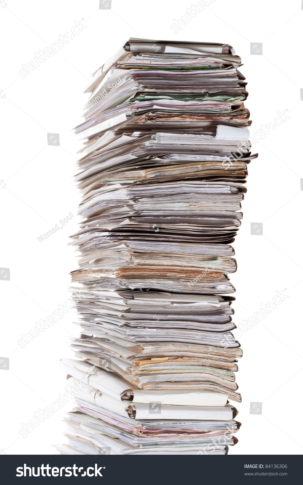 huge stack papers isolated on white stock photo (edit now) 84136306