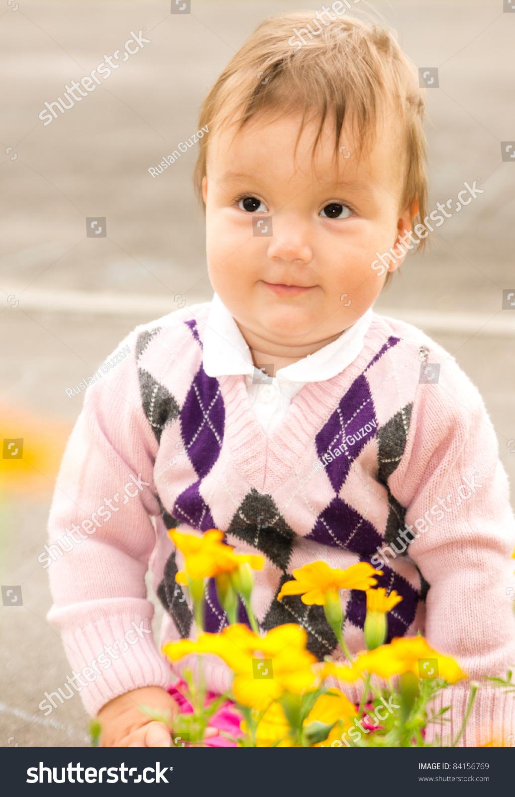 portrait cute baby flowers stock photo (edit now) 84156769