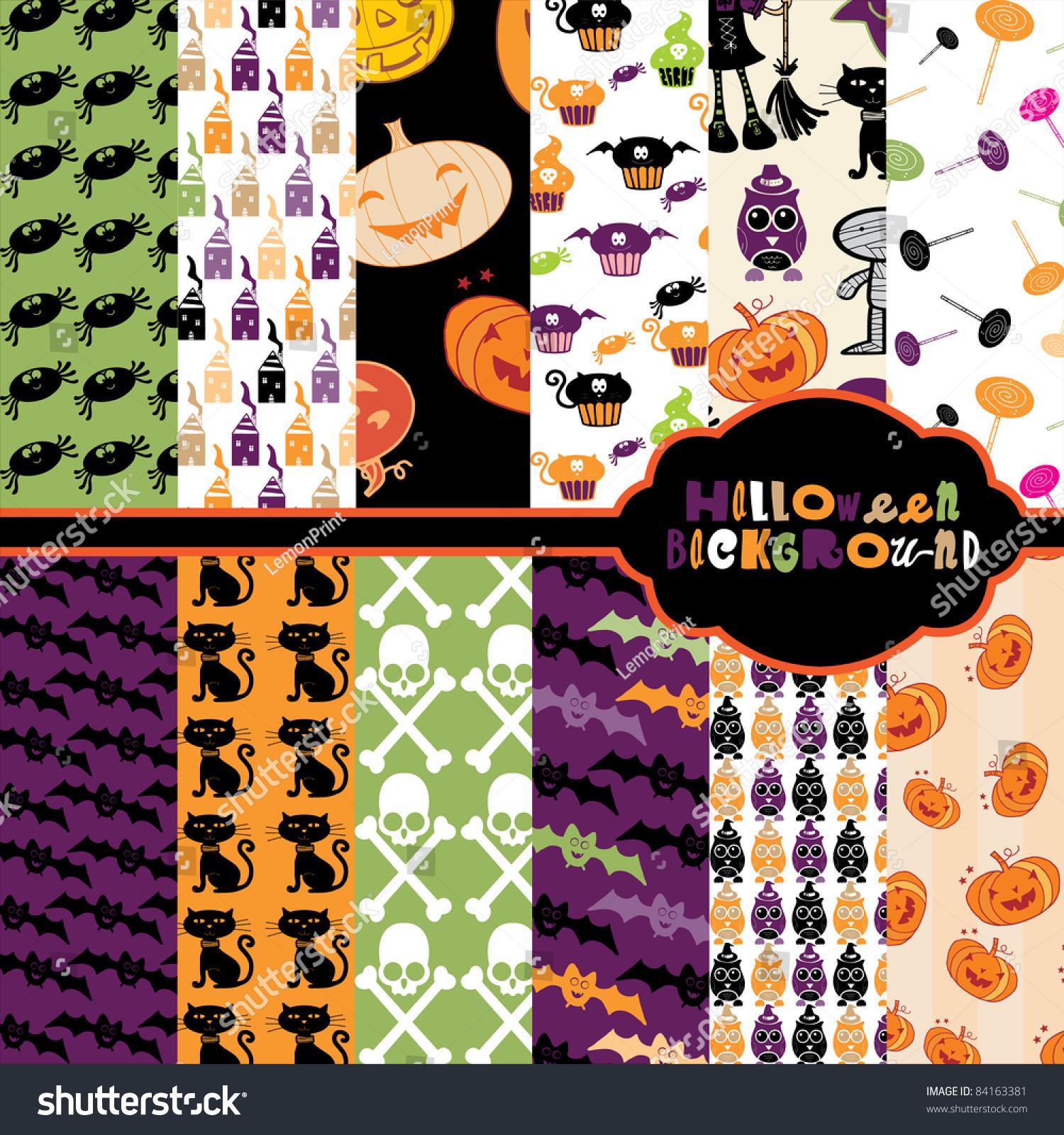 Cute Halloween Backgrounds Stock Vector 84163381 - Shutterstock