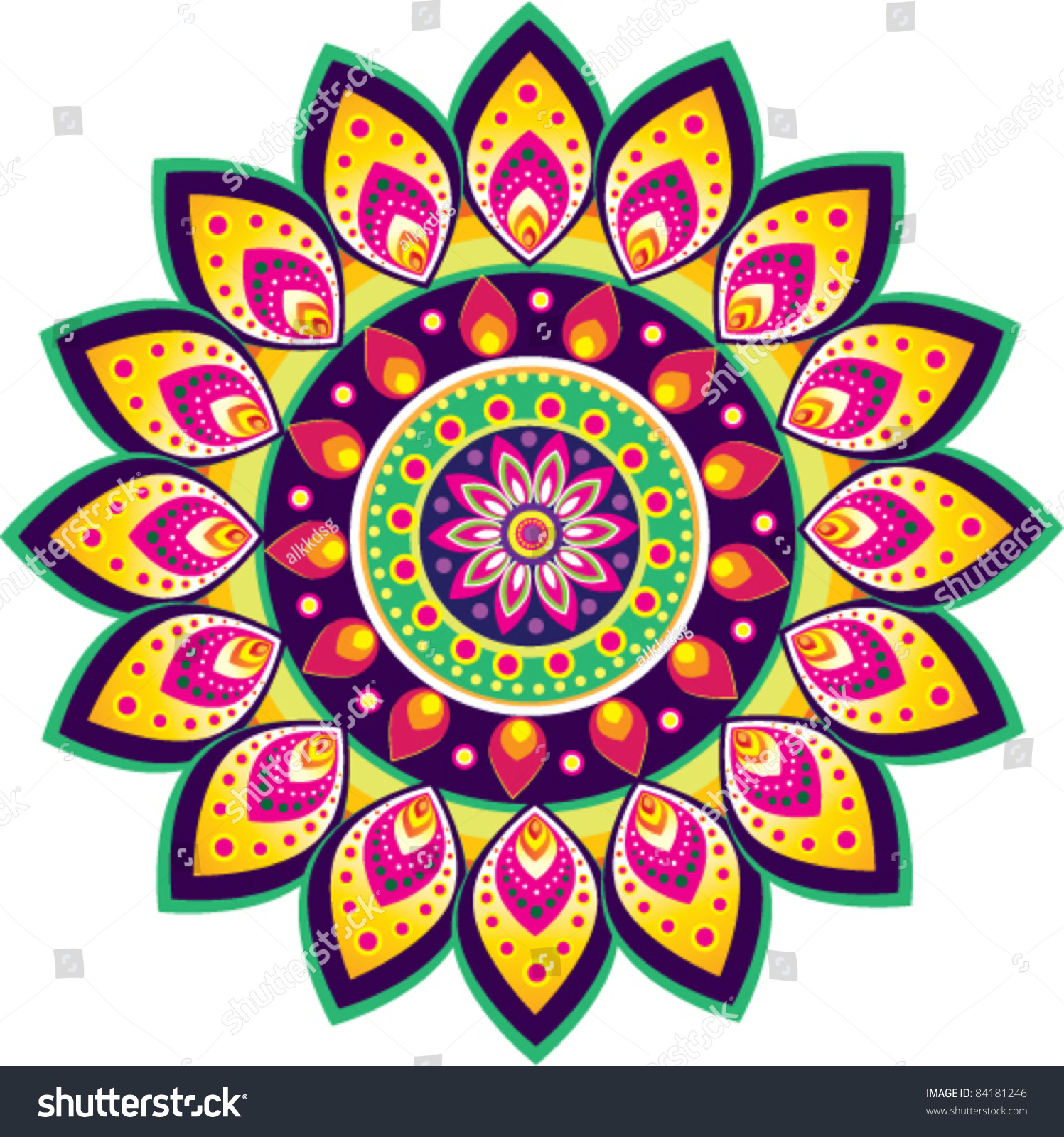 Colorful Indian Pattern Stock Vector 84181246 Shutterstock