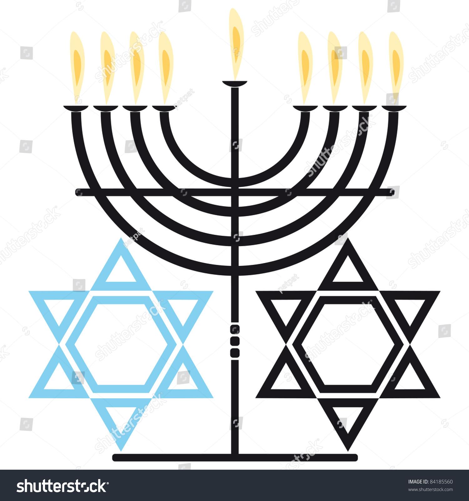 Two symbols jewish religion nine flame stock vector 84185560 two symbols of the jewish religion nine flame candelabra and six pointed star biocorpaavc