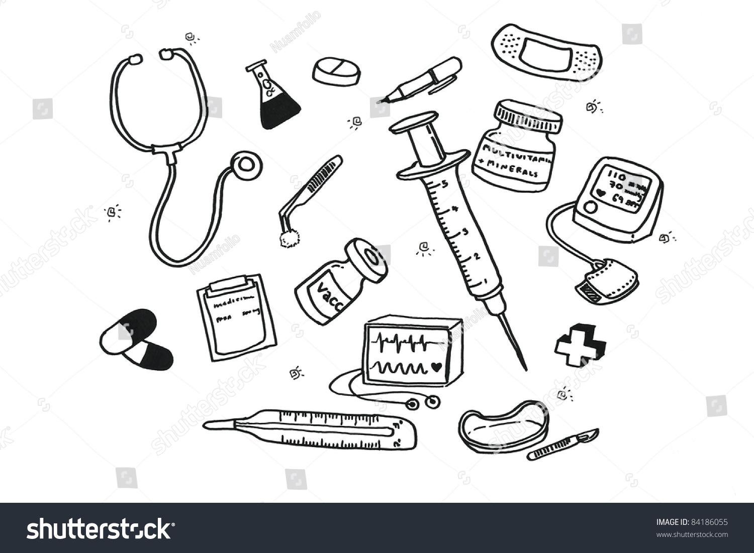 Freehand draw doodle icon doctor tools for healthcare and medical concept