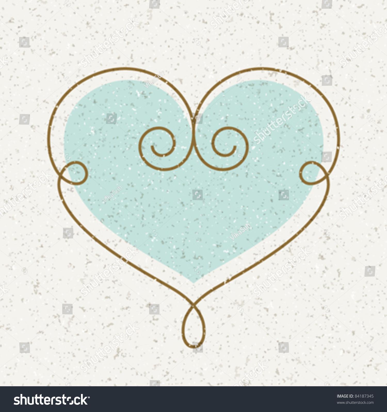 Vintage Heart Vector Illustration Design Element Stock