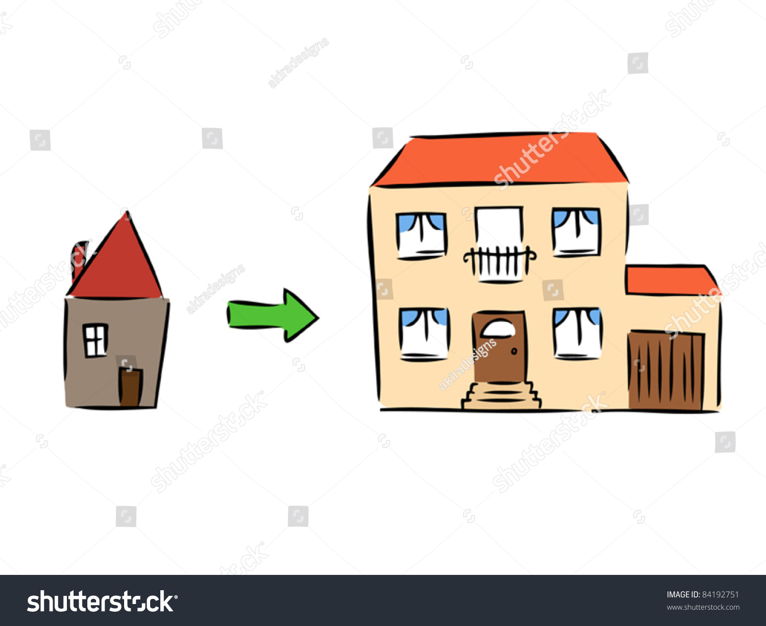 New House Rebuilding Moving Old House Stock Vector