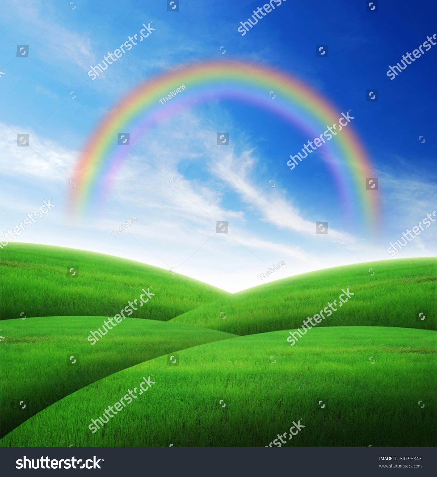 green grass landscape blue sky backgrounds stock photo & image