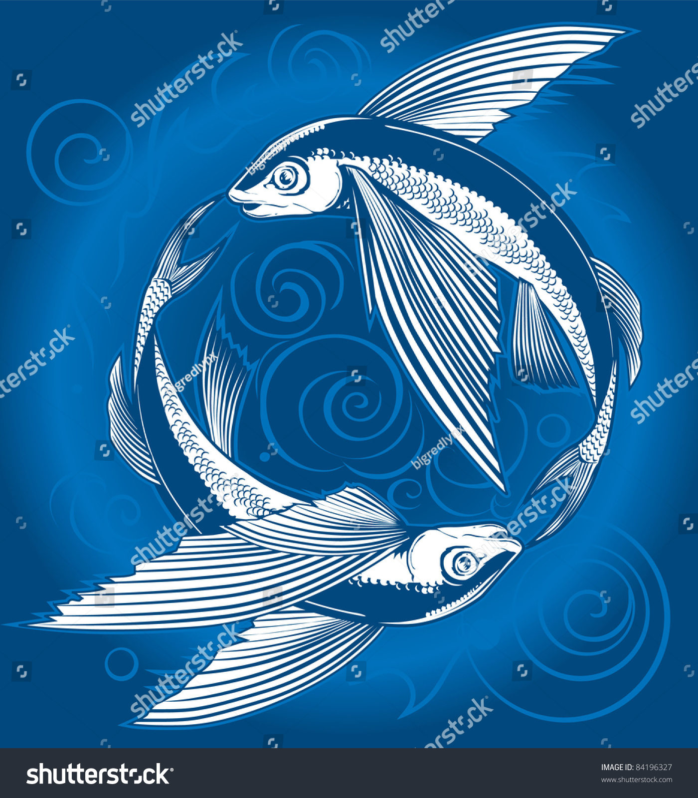 Flying Fish Circle Stock Vector Royalty Free 84196327 Shutterstock