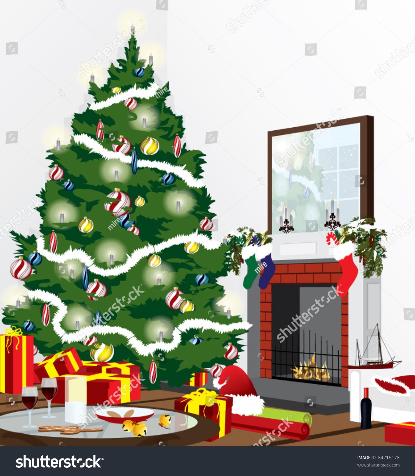 Christmas Room Stock Vector Image Of Illuminated: Christmas Eve Scene In A Living Room Stock Vector