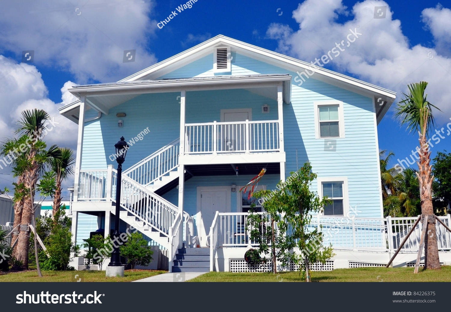 Key West Beach House Style Architecture Stock Photo