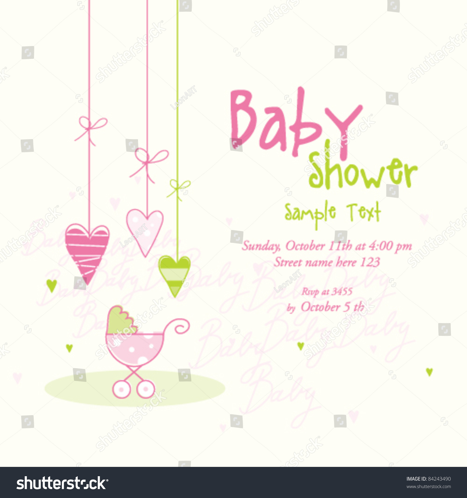 Cute Baby Girl Shower Card Copy Stock Vector Royalty Free 84243490