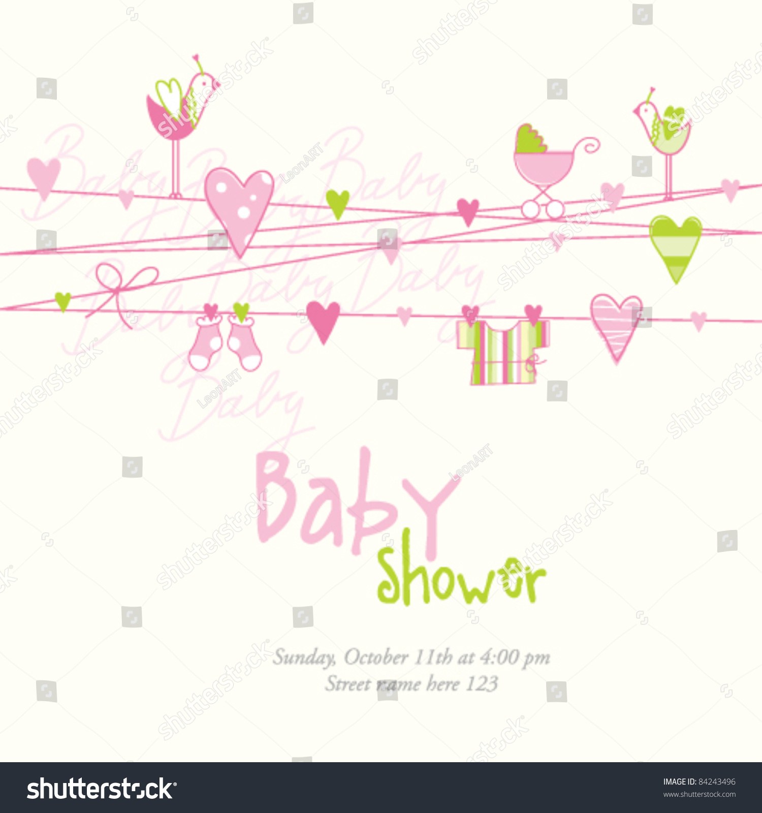 baby shower baby background template simple stock vector royalty