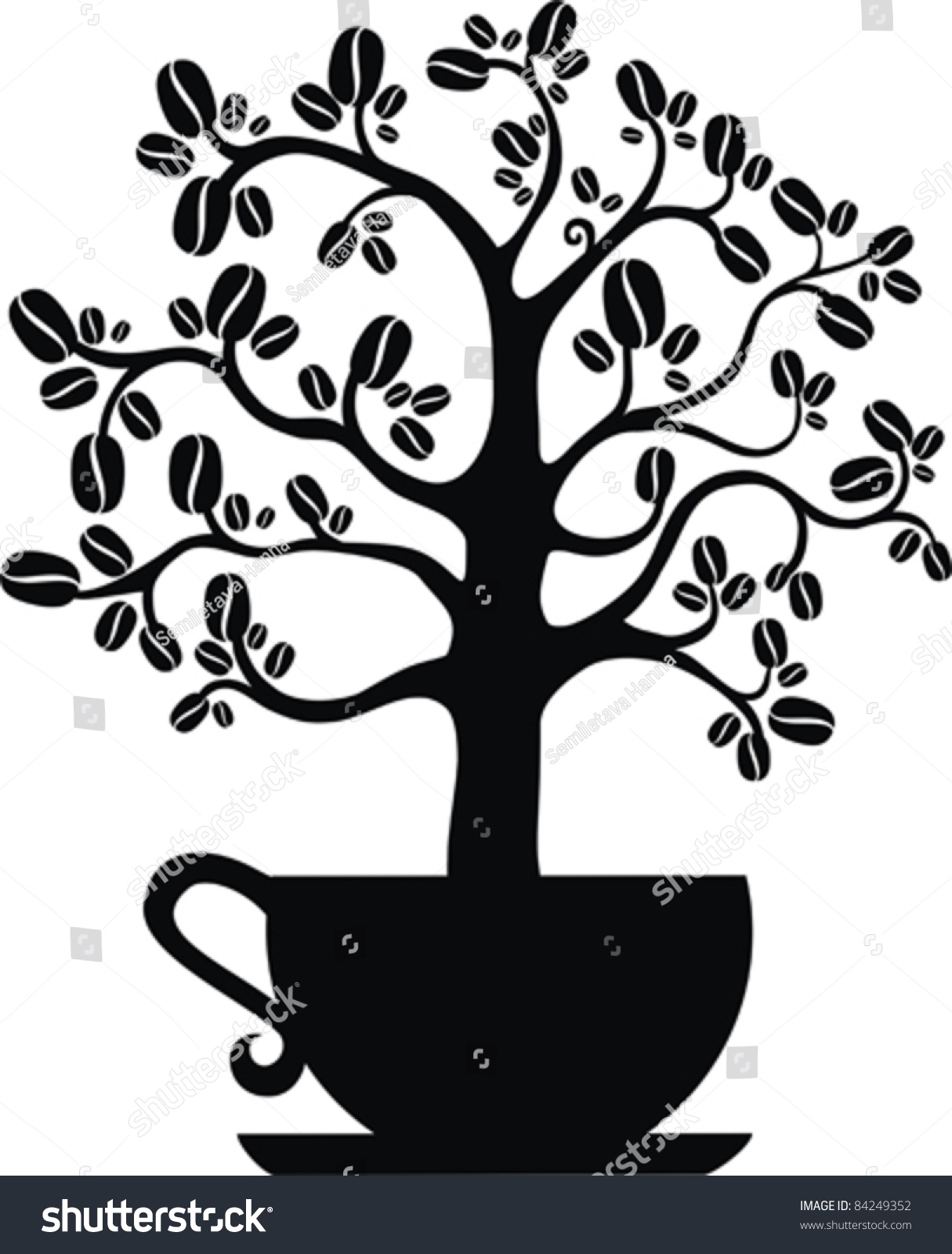 Coffee Tree Isolated On White Background Stock Vector ...