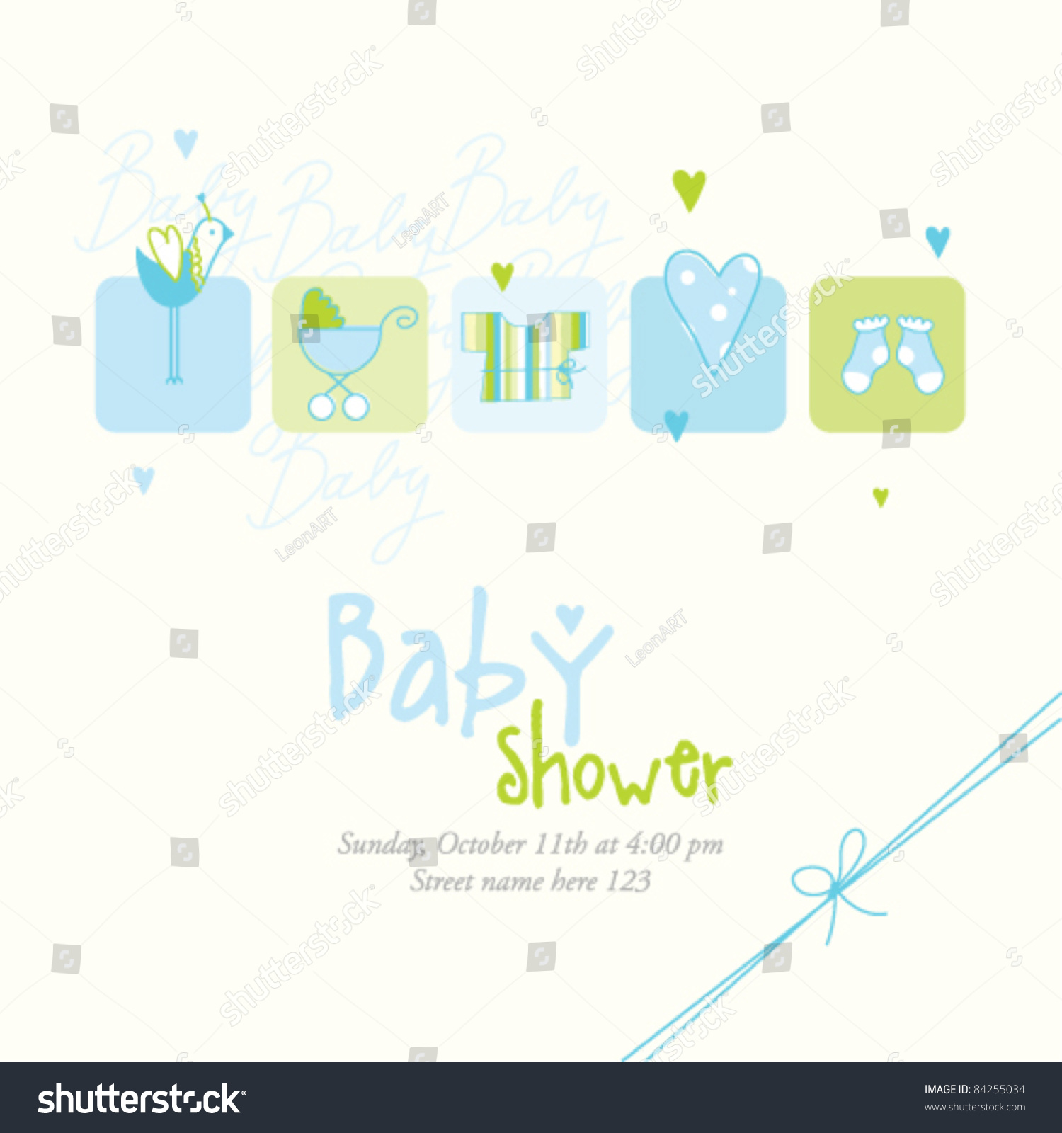 Baby Shower Card Invitation Template   Cute Unique Design Baby Boy Arrival  Announcement Card Birthday Card