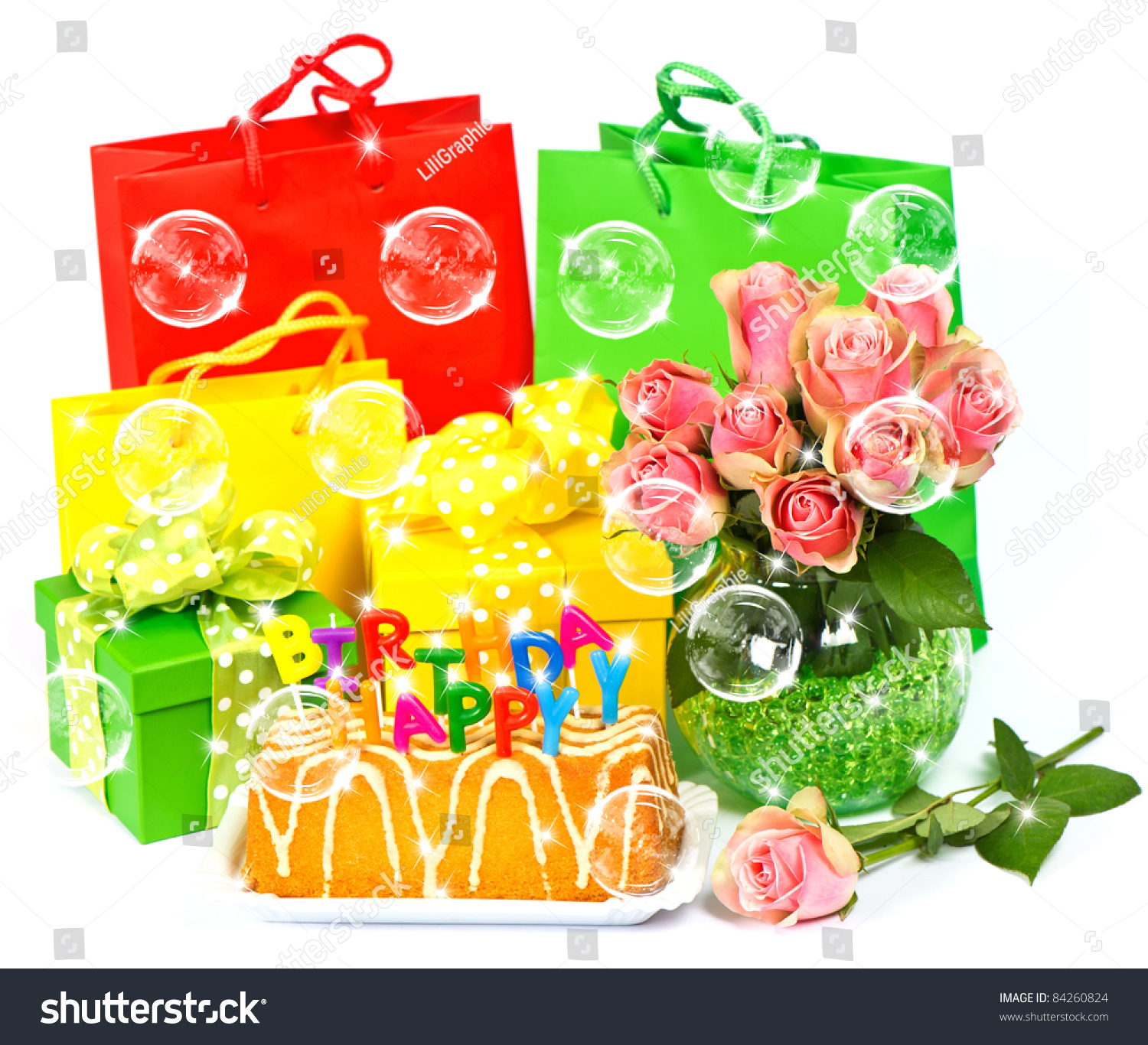 Happy Birthday Cake With Candles Flowers Gifts Stars And Bubbles