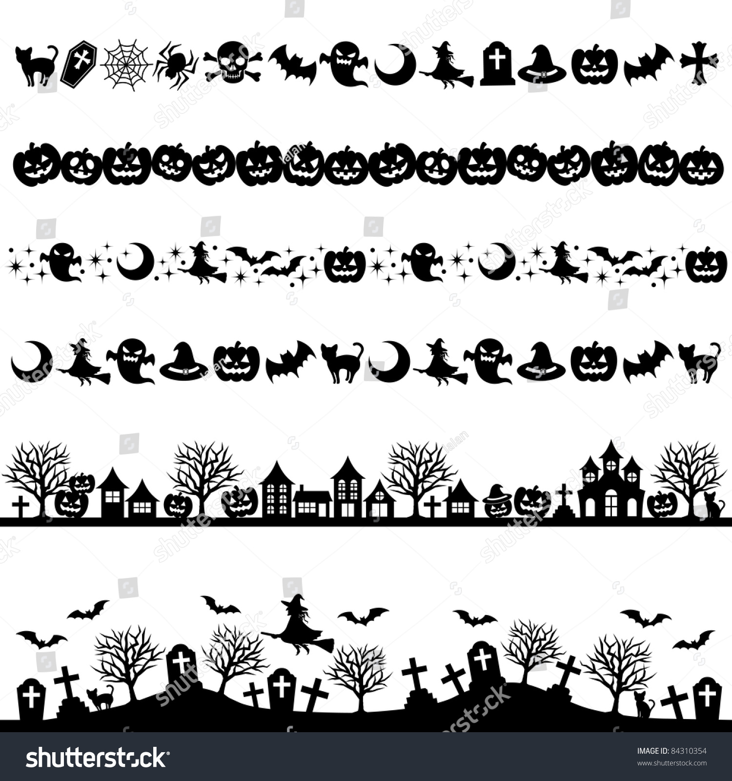 Halloween line decoration stock vector 84310354 shutterstock for Decoration on line