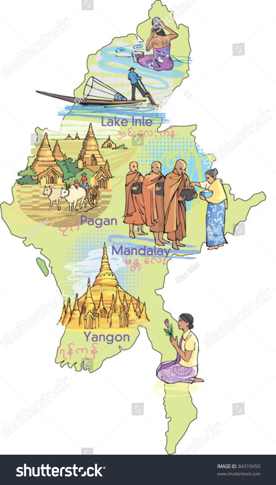 Map Burma Myanmar Stock Vector Shutterstock - Burma map
