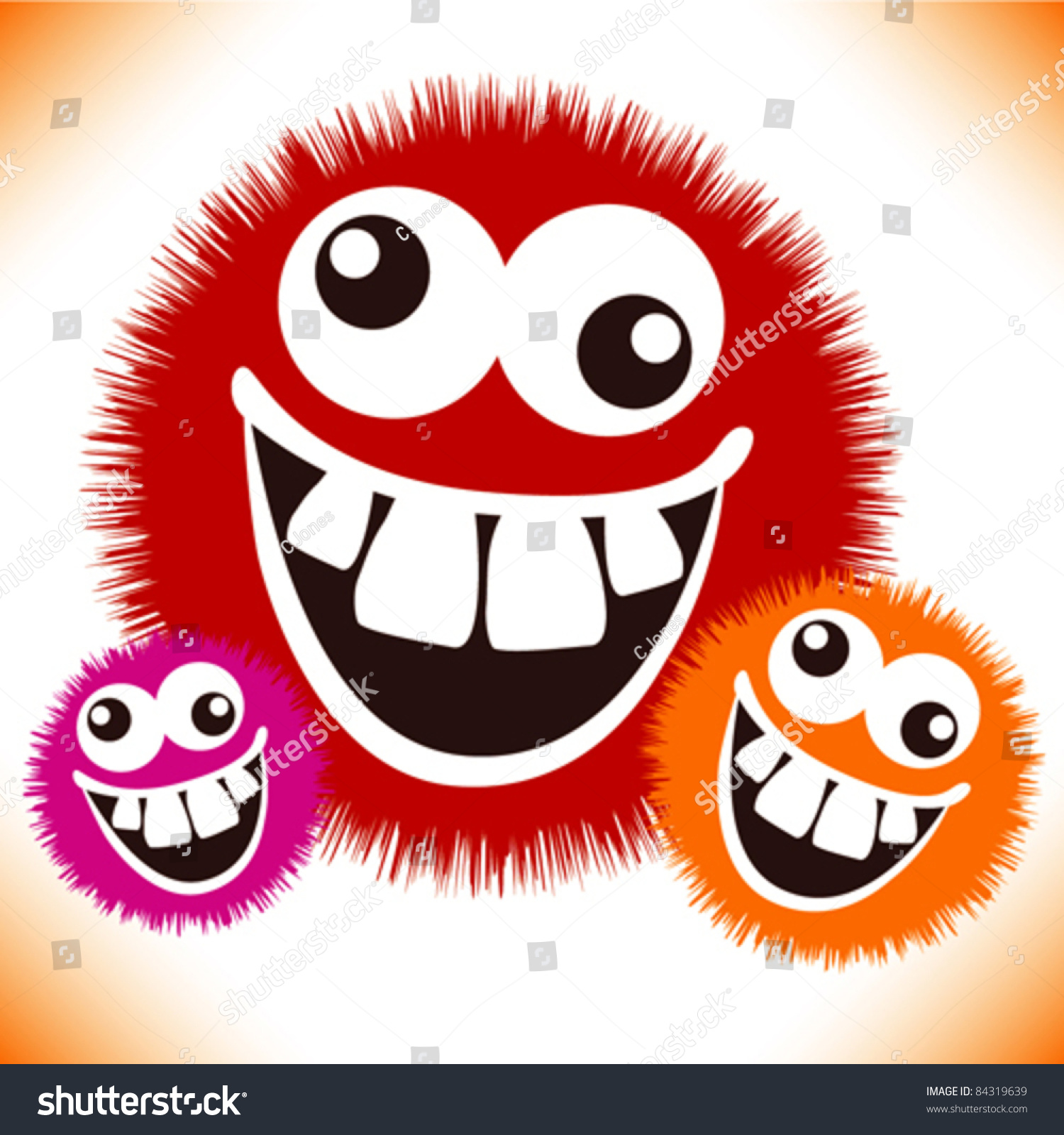 Crazy Furry Funny Face Cartoon Design Stock Vector ...