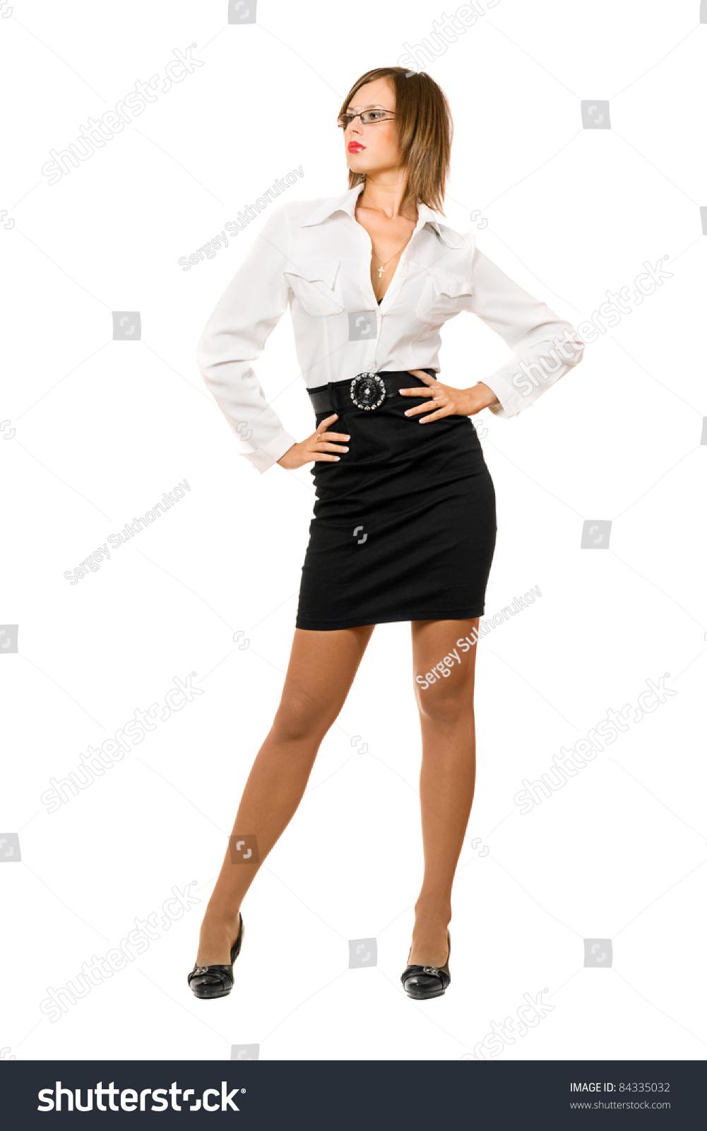 Beautiful Woman Black Skirt White Shirt Stock Photo Edit Now